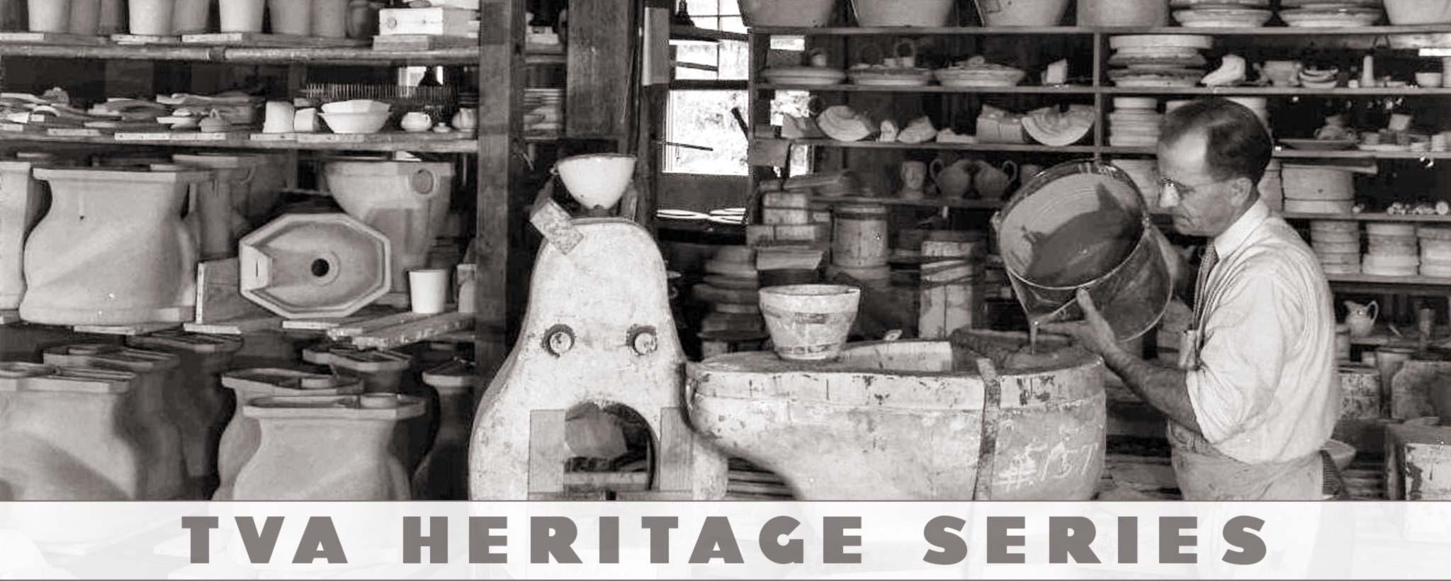 Worker in ceramics lab