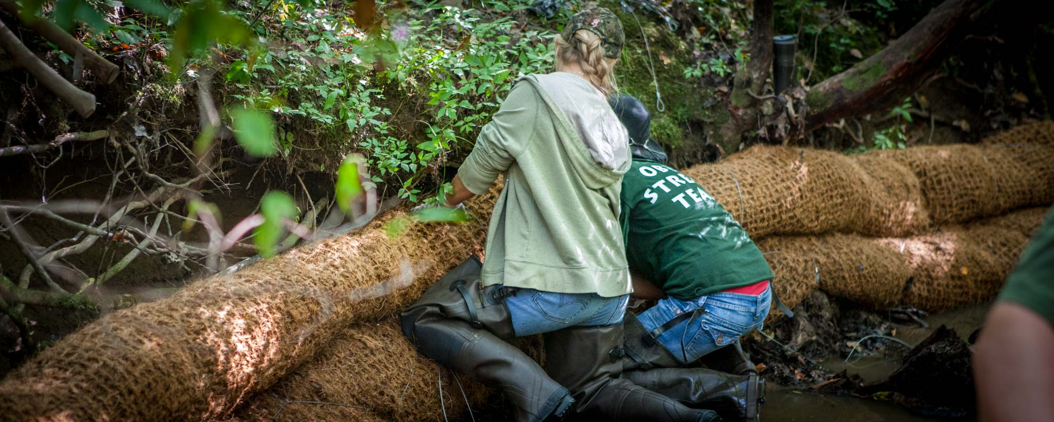 volunteers doing trail maintenance