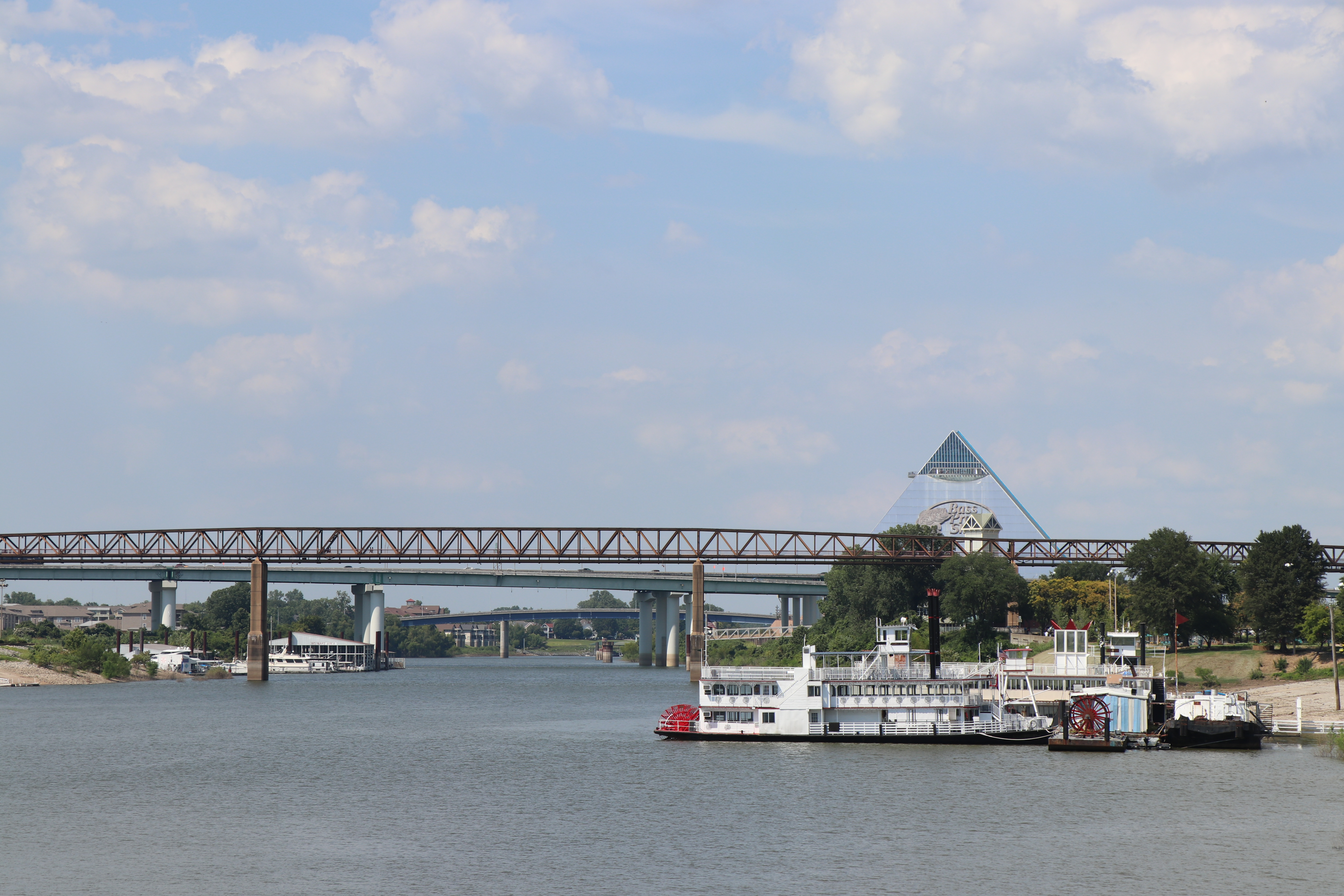 view of river boat and pyramid