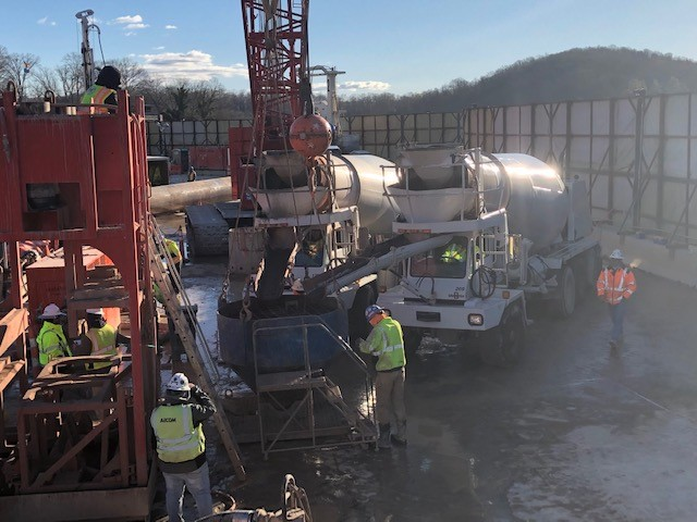 concrete pour at Boone Dam