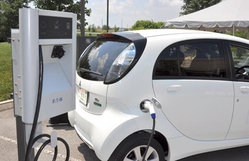 Electric Car charging at SMART station