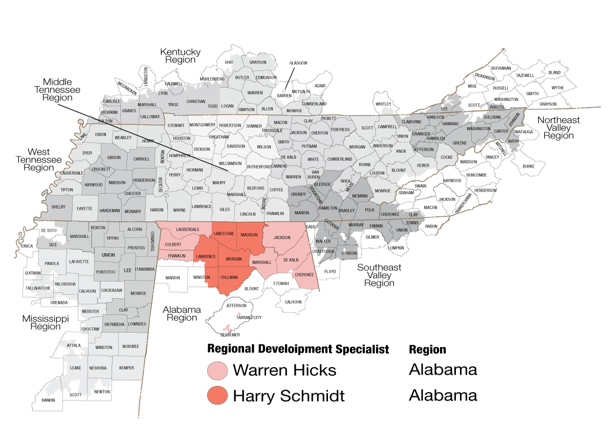 Map of Alabama regions