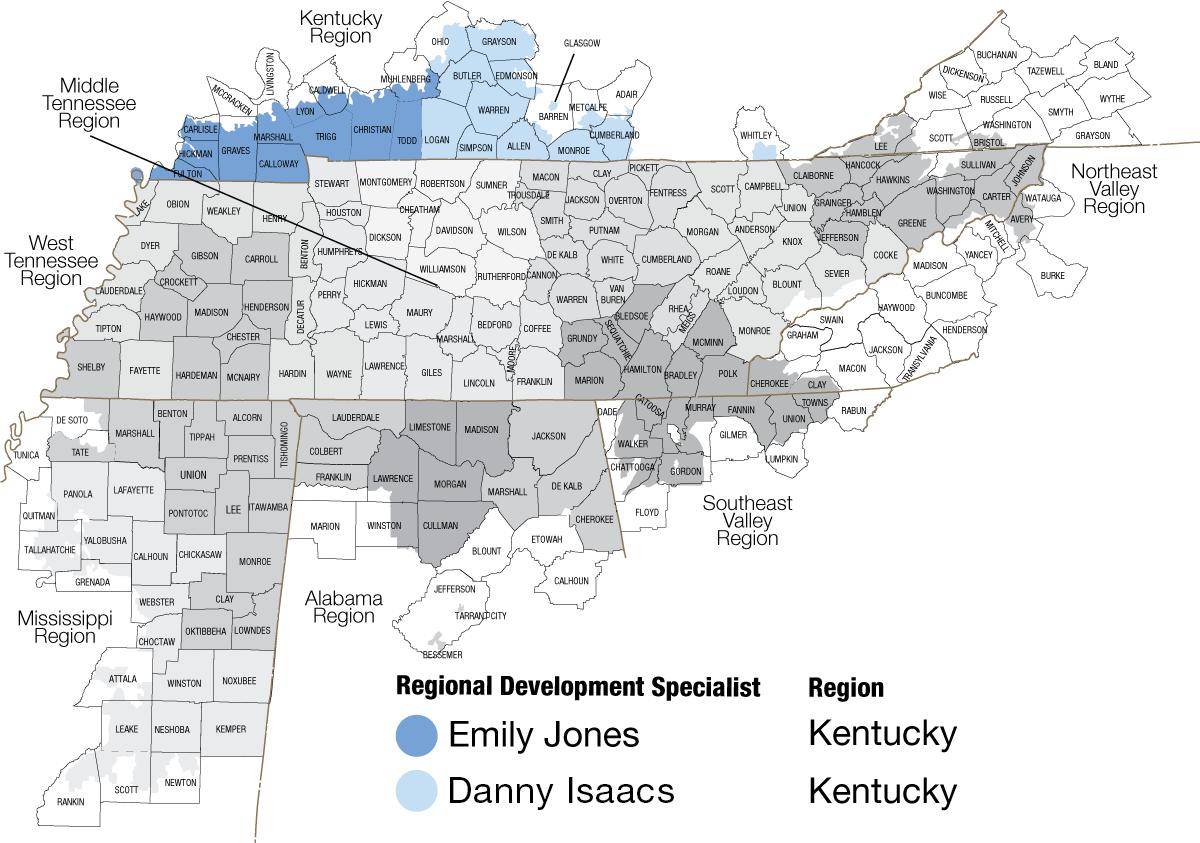Map of Kentucky regions