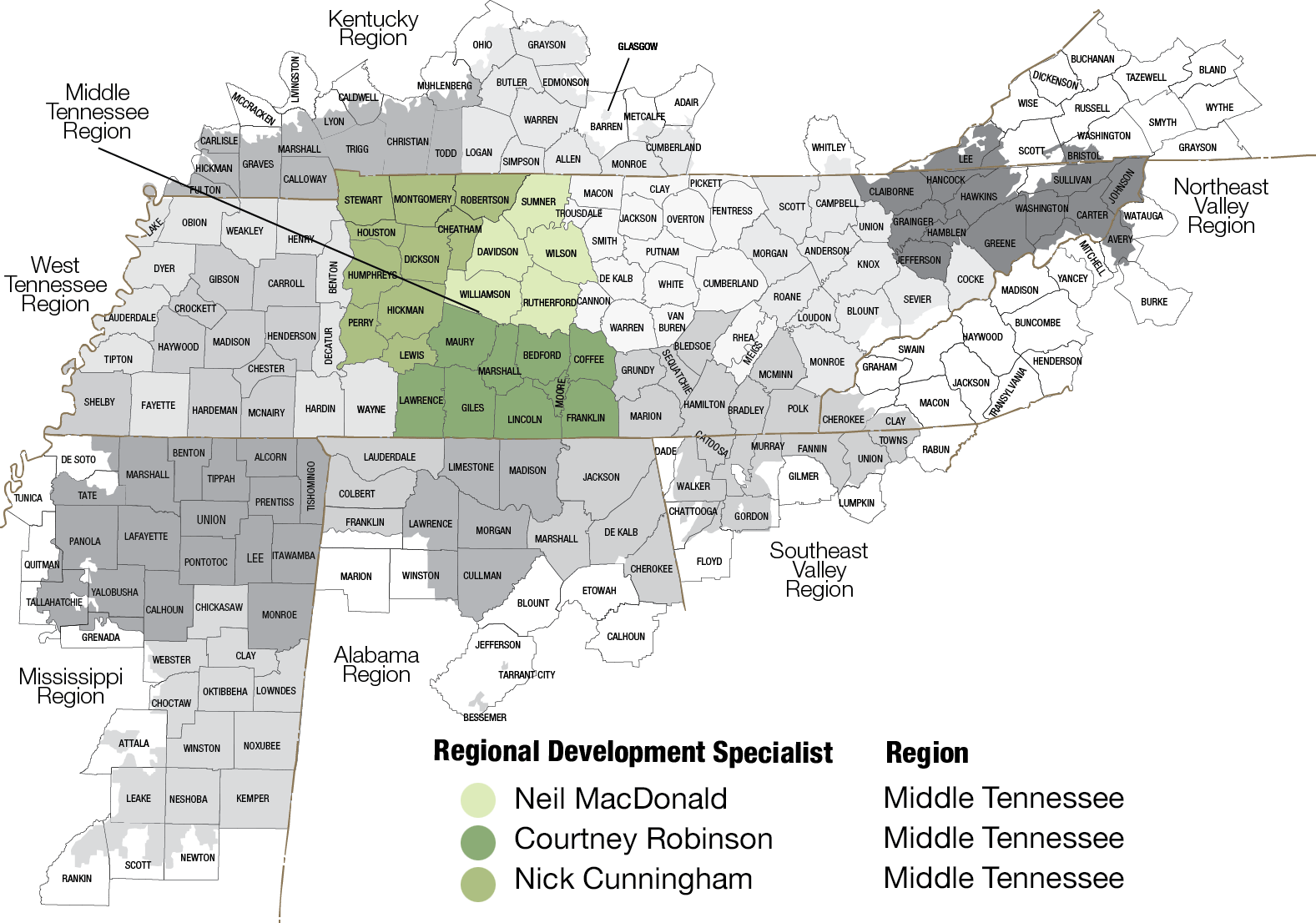 Map of Middle Tennessee region