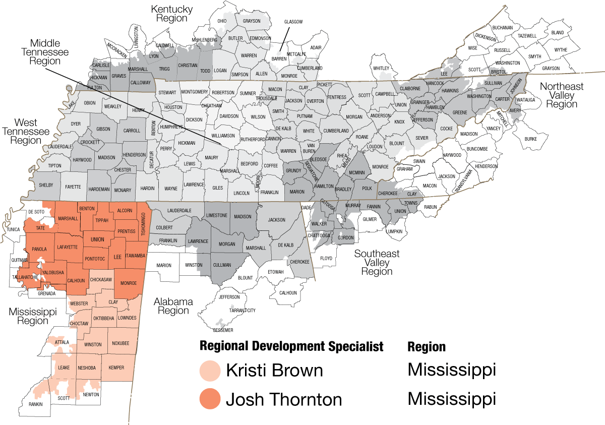 Map of Mississippi regions