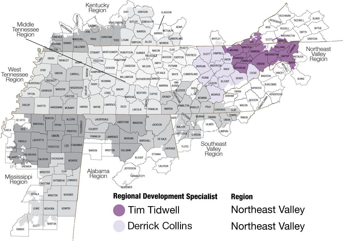 Map of Northeast Valley region