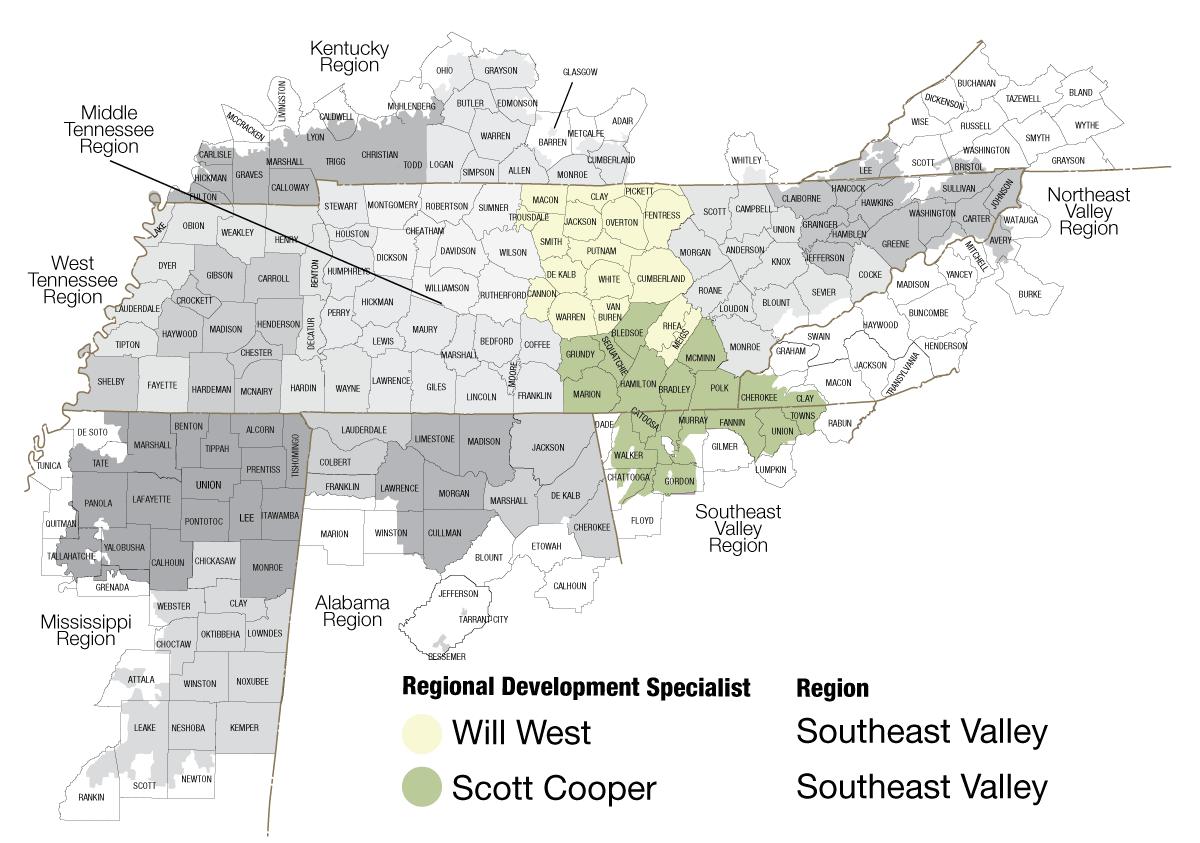 Map of Southeast region