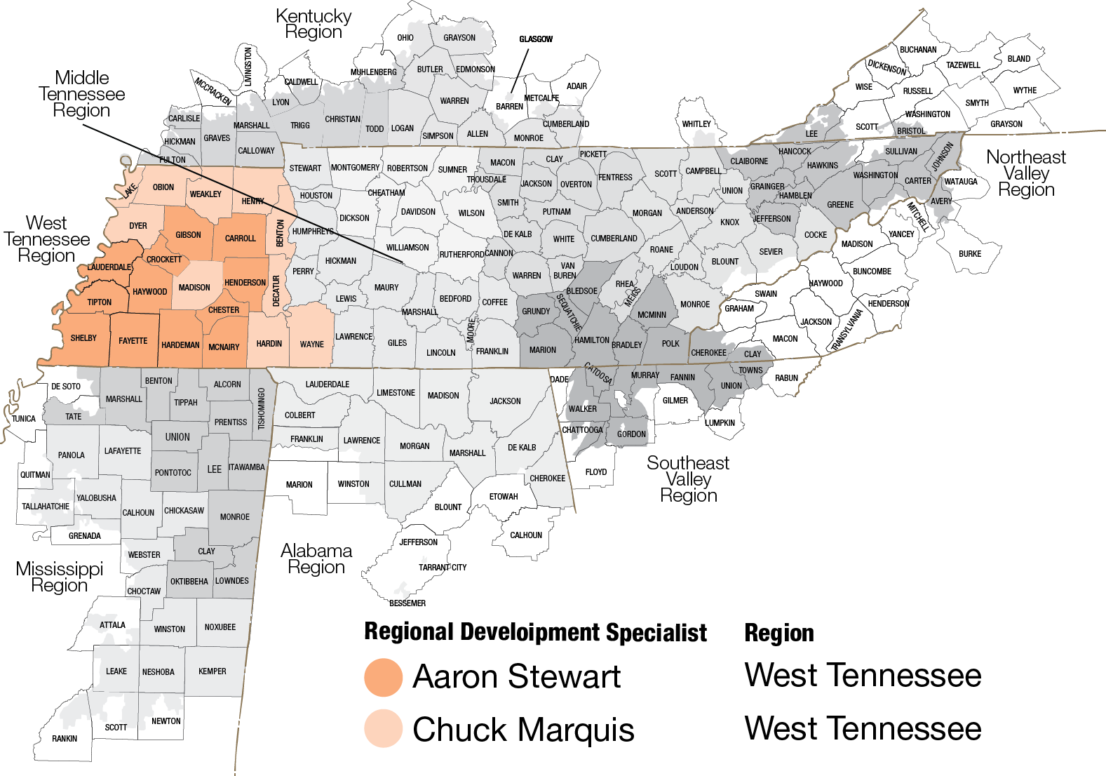 Map of West Tennessee region