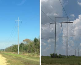 Single Pole on left and H-Frame on Right