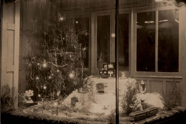 Christmas window scene